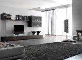 Интерьер гостиной комнаты в стиле хай-тек